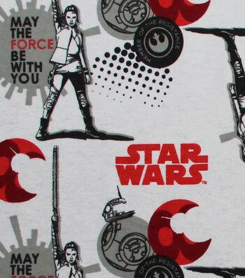"""Star Wars™: The Last Jedi Flannel Fabric 42""""-Red & BB8"""