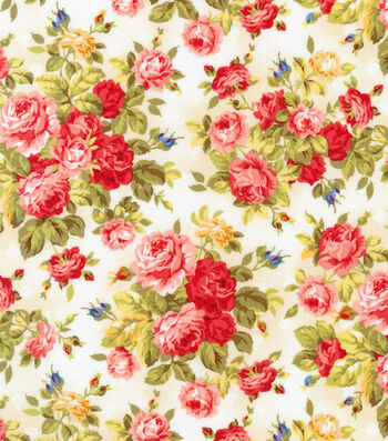 "Premium Quilt Cotton Fabric 44""-Large Floral"