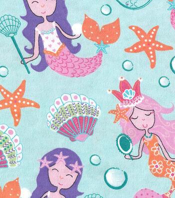 "Snuggle Flannel Fabric 42""-Pretty Mermaids"