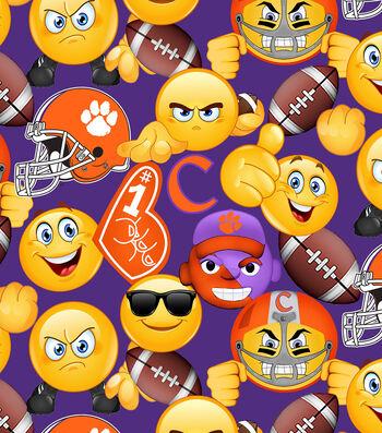 Clemson University Tigers Cotton Fabric 43''-Emoji