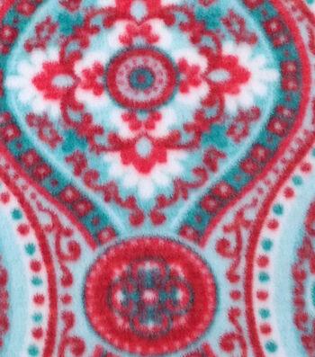 "3 Yard Pre-Cut Anti-Pill Fleece Fabric 59""-Joy Medallion Red Teal"