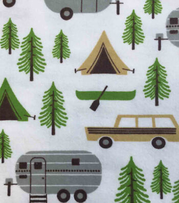 """Snuggle Flannel Fabric 42""""-Camping Trip"""