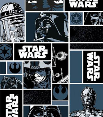 "Star Wars™ Cotton Fabric 44""-Characters in Block"