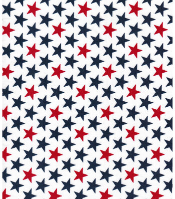 "Patriotic Cotton Fabric 43""-Bold Stars White"