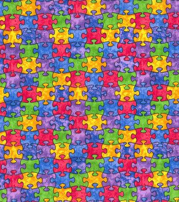 """Novelty Cotton Fabric 44""""-Multi Color Puzzle Pieces"""