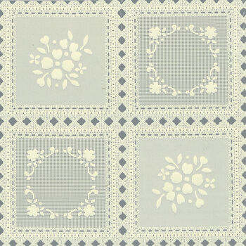 "Tablecloth Vinyl 54""-Squares Ecru"