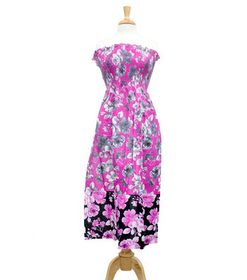 "Style In An Instant 45"" Shirred Dress Floral Pin Stripe"