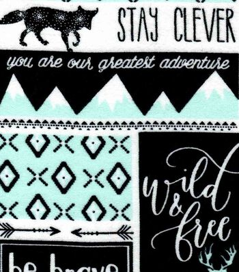 Nursery Flannel Fabric 42''-Mint, Black & White Be Brave Patch