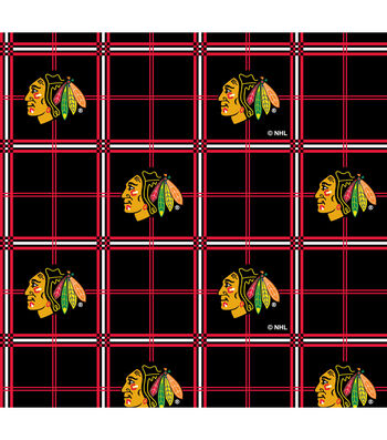 "Chicago Blackhawks Flannel Fabric 44""-Plaid"