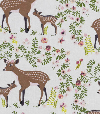 "Nursery Cotton Fabric 43""-Deer"