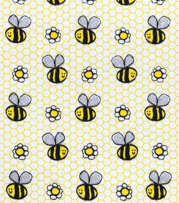 """Snuggle Flannel Fabric 42""""-Happy Sketch Bee"""