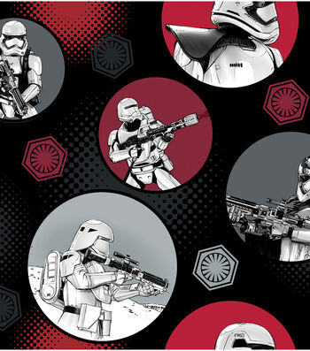 """Star Wars™: The Force Awakens Fleece Fabric 58""""-Stromtroopers in Circles"""