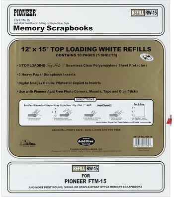 """Pioneer Top Load 12""""x 15"""" Page Protectors & Inserts??"""