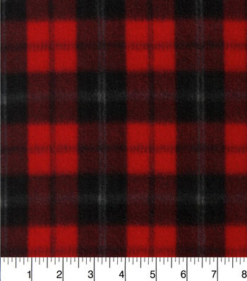 """Blizzard Fleece Fabric 58""""-Red And Black Plaid"""