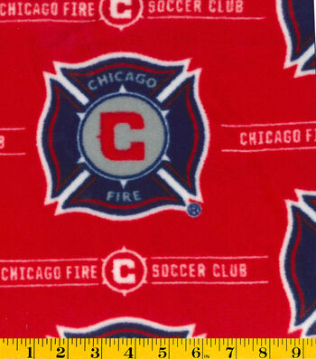 "Chicago Fire Soccer Club Fleece Fabric 58""-Logo"