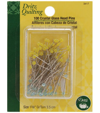 "Dritz Quilting 1.38"" Crystal Glass Head Pins 100pcs"