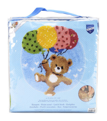 Vervaco 22''x24.75'' Shaped Rug Latch Hook Kit-Bear With Balloons