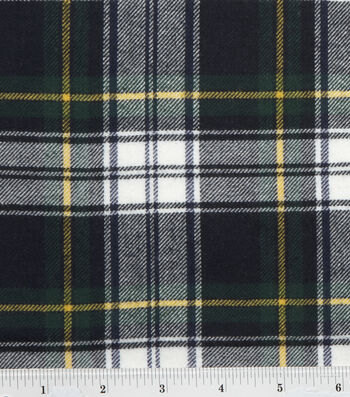 Fashion Flannel Shirting Fabric 41''-Navy & Green Classic Check