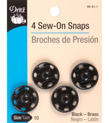 Dritz Sew-On Snaps 4pcs Size 10