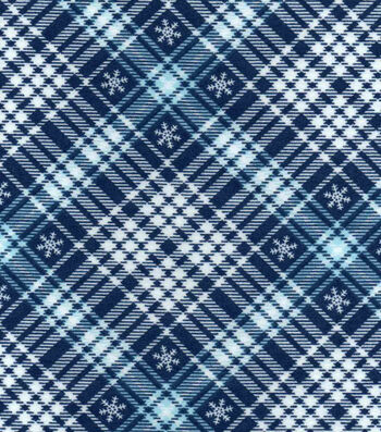 "Snuggle Flannel Fabric 42""-Snowflakes On Plaid"
