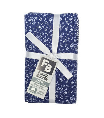 Fat Quarter Bundle Cotton Fabric 5-Pieces 18''-Floral on Navy