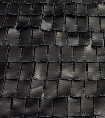 Fashion Suede- Embossed Tab Black Pleather Fabric