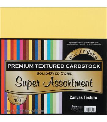 "Core'dinations Value Pack Cardstock 12""X12"" 100/Pkg-Super Assortment-Textured"