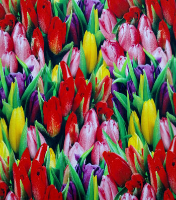 """Easter Cotton Fabric 44""""-Photo Real Tulips"""