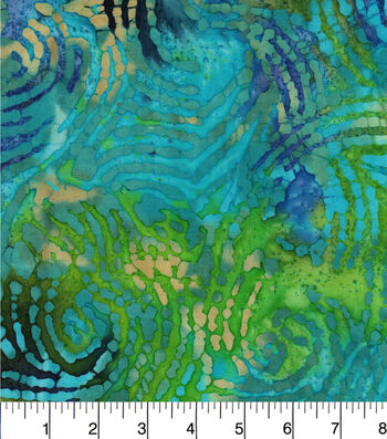 "Legacy Studio™ Indian Batiks Cotton Fabric 44""-Waving Lines Teal"