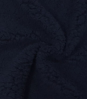 """Fashion Faux Fur Fabric 57""""-Navy Sherpa"""