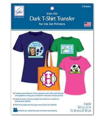 Dark T-Shirt Transfer Paper For Ink Jet Printers 3/Pkg