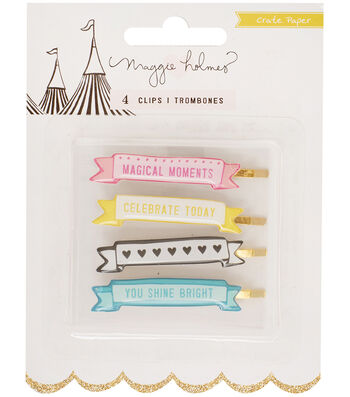 Crate Paper Maggie Holmes Carousel 4 pk 2''x0.38'' Banner Clips