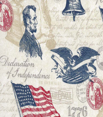 "Patriotic Cotton Fabric 44""-Declaration"