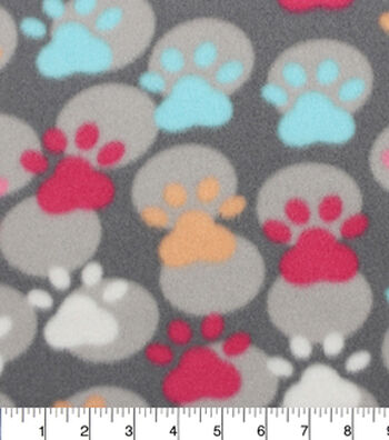 """Blizzard Fleece Fabric 59""""-Paw Prints And Dots"""