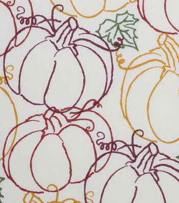 "Harvest Cotton Fabric 44""-Pumpkin Scribbles"