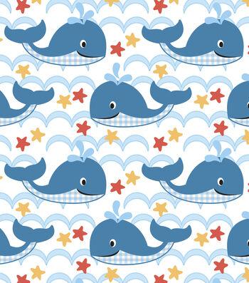 """Nursery Flannel Fabric 43""""-Sea Waves"""