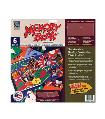 "Memory Book 12""x12"" Panoramic Fold-Out Page Protectors-6PK"