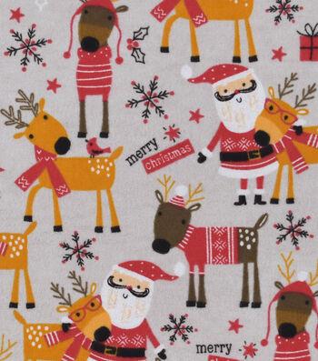"Snuggle Flannel Fabric 42""-Santa & Reindeer"