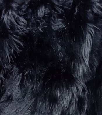 "Fashion Faux Husky Fur Fabric 57""-Black"