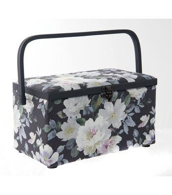 Medium Rectangle Sewing Basket-Charcoal Floral