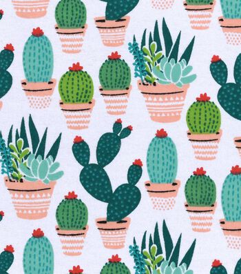 """Snuggle Flannel Fabric 42""""-Potted Cacti"""