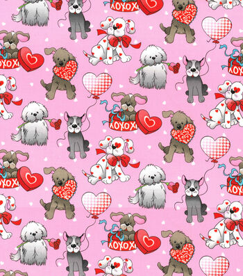 Holiday Inspirations™ Valentine's Day Glitter Fabric 43''-Love Pup