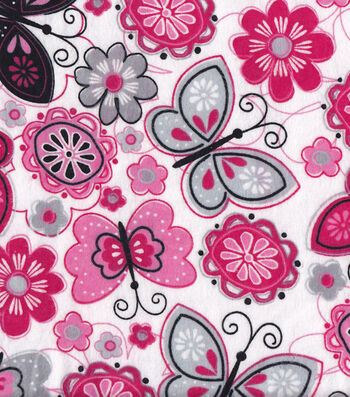 """Snuggle Flannel Fabric 42""""-Butterfly Flowers"""