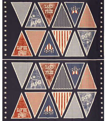 "Patriotic Cotton Fabric 43""-Pennant Panel"
