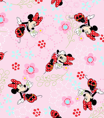 "Disney® Minnie Mouse Cotton Fabric 44""-Floral Garden"