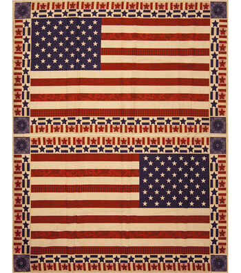 "Patriotic Cotton Fabric 43""-Flag Banner Panel"