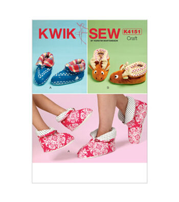 Kwik Sew Pattern K4151 Adult & Children's Slippers-Size XS-XL