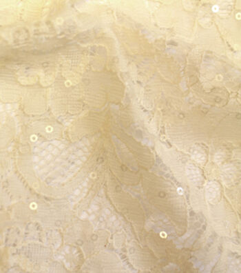 """Save The Date™ Sequined Lace Fabric 57""""-Ivory"""