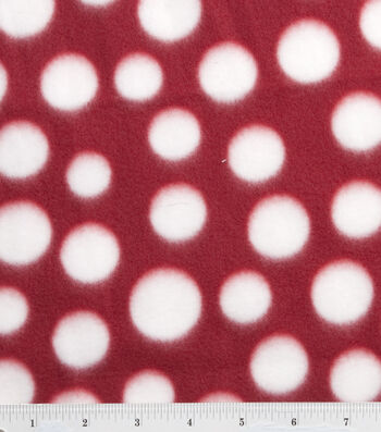 """Blizzard Fleece Fabric 59""""-Red and White Dot"""