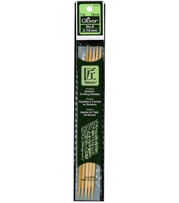 "Takumi Bamboo Double Point Knitting Needles 7"" 5/Pkg-Size 5/3.75mm"
